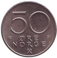 Монета 50 эре. 1976 год, Норвегия.