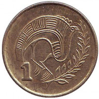Птица. Монета 1 цент. 1993 год, Кипр.