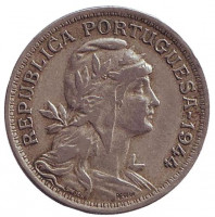Монета 50 сентаво. 1944 год, Португалия.