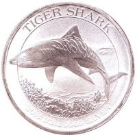 Тигровая акула. Монета 50 центов. 2016 год, Австралия.