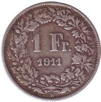 Гельвеция. Монета 1 франк. 1911 год, Швейцария.