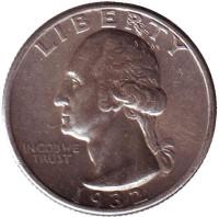 Вашингтон. Монета 25 центов. 1932 год, США.
