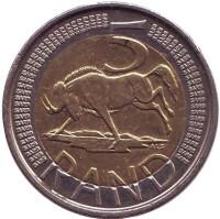 Антилопа гну. Монета 5 рандов. 2013 год, ЮАР.
