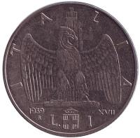 Орёл. Монета 1 лира. 1939 год (XVII), Италия. (Магнитная)
