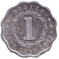 Монета 1 цент, 2002 год, Белиз.