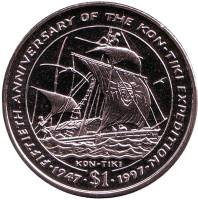 50 лет экспедиции Кон-Тики. Монета 1 доллар. 1997 год, Либерия.