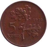 Дубовая ветвь. Монета 5 курушей. 1970 год, Турция.