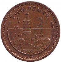 """Маяк. Монета 2 пенса. 1995 год, Гибралтар. (Отметка """"AA"""", Немагнитная)"""
