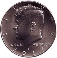 Джон Кеннеди. Монета 1/2 доллара (50 центов), 2017 год (D), США.