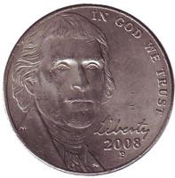 Джефферсон. Монтичелло. Монета 5 центов. 2008 год (P), США.
