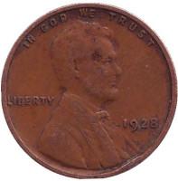 Линкольн. Монета 1 цент. 1928 год, США. (Без отметки монетного двора)