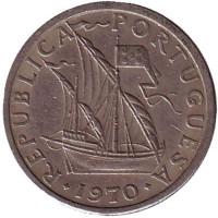 Монета 2,5 эскудо. 1970 год, Португалия.