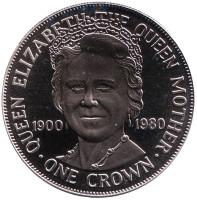 80 лет со дня рождения Королевы-Матери. Монета 1 крона. 1980 год, Остров Мэн.