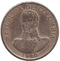 Симон Боливар. Монета 1 песо. 1980 год, Колумбия.