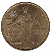Монета 20 сантимов. 1977 год, Монако.