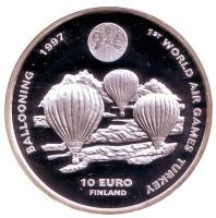 Всемирные воздушные игры в Турции. Воздухоплаватели. Монета 10 евро. 1996 год, Финляндия.