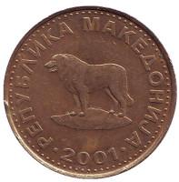 Пастушья собака. Монета 1 денар, 2001 год, Македония.