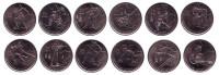XXI Зимние Олимпийские игры 2010 года в Ванкувере. Набор монет номиналом 25 центов. (12 шт.), 2007 - 2009 гг., Канада.