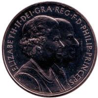 80 лет со дня рождения Королевы Елизаветы II. Монета 5 фунтов. 2007 год, Великобритания.