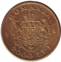 Монета 2000 лей. 1946 год, Румыния.