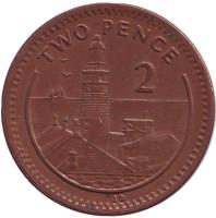 """Маяк. Монета 2 пенса. 1995 год, Гибралтар. (Отметка """"AB"""", Магнитная)"""