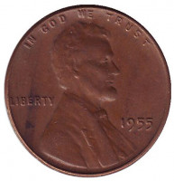 Линкольн. Монета 1 цент. 1955 год (P), США.