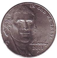 Джефферсон. Монтичелло. Монета 5 центов. 2011 год (P), США.