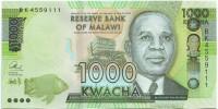 Хастингс Банда. Банкнота 1000 квача. 2016 год, Малави.
