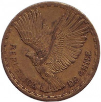 Кондор. Монета 2 чентезимо. 1964 год, Чили.
