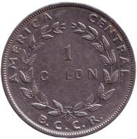 Монета 1 колон. 1954 год, Коста-Рика.