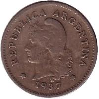 Монета 10 сентаво. 1937 год, Аргентина.