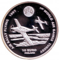 Всемирные воздушные игры в Турции. Малая авиация. Монета 10 евро. 1996 год, Финляндия.