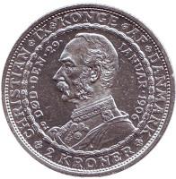 Смерть Кристиана IX и вступление на престол Фредерика VIII. Монета 2 кроны. 1906 год, Дания.