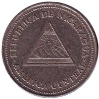 Горы-вулканы. Монета 50 сентаво. 1997 год, Никарагуа. Из обращения.