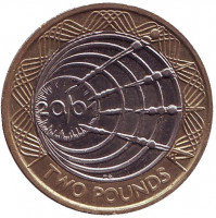 Столетие трансатлантическому радио. Монета 2 фунта. 2001 год, Великобритания.