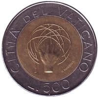 Создание Вселенной. Монета 500 лир. 1983 год, Ватикан.