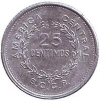 Монета 25 сантимов. 1989 год, Коста-Рика.