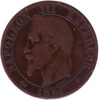 Наполеон III. Монета 5 сантимов. 1861 год (BB), Франция.