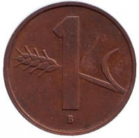 Монета 1 раппен. 1956 год, Швейцария.