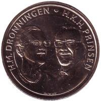 Золотая свадьба. Монета 20 крон. 2017 год, Дания.