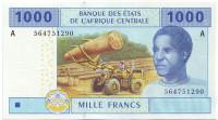 """Банкнота 1000 франков. 2002 год, Центральные Африканские штаты. (Литера """"A"""" - для Габона)."""