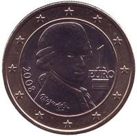 Моцарт. Монета 1 евро. 2008 год, Австрия.