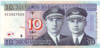 Лётчики Дарюс и Гиренас. Банкнота 10 литов. 2007 год, Литва.