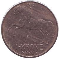 Лошадь. Монета 1 крона. 1970 год, Норвегия.