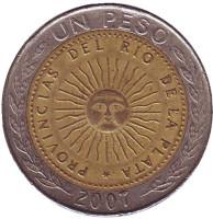 Монета 1 песо. 2007 год, Аргентина.