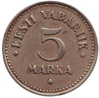Монета 5 марок. 1924 год, Эстония.