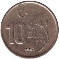 """Монета 10000 лир. 1997 год, Турция. (Гурт: """"T.C. T.C. T.C. T.C. T.C. T.C."""")"""