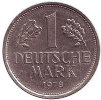 Монета 1 марка. 1978 год (F), ФРГ. Из обращения.