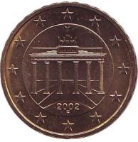 Монета 10 центов. 2002 год (F), Германия.