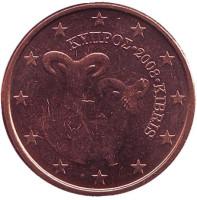 Монета 5 центов. 2008 год, Кипр.